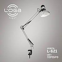 """Настольная лампа со струбциной L-621 """"Серебро"""" (ТМ LOGA Light)"""
