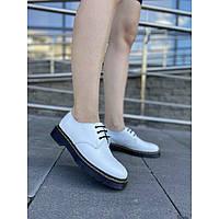 Женские туфли из натуральной кожи белого цвета