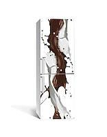 Інтер'єрна наклейка на холодильник Кавові бризки ламінована ПВХ Абстракція кави Бежевий 650*2000 мм, фото 1
