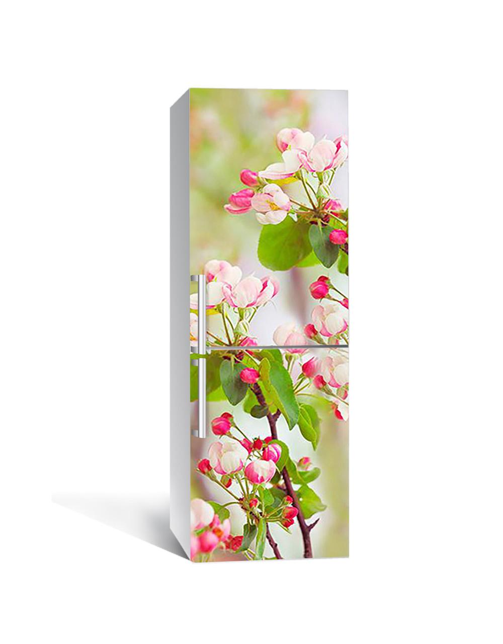 Интерьерная наклейка на холодильник Розовые Цветы вишни виниловая пленка ламинированная ПВХ вишневые Зеленый