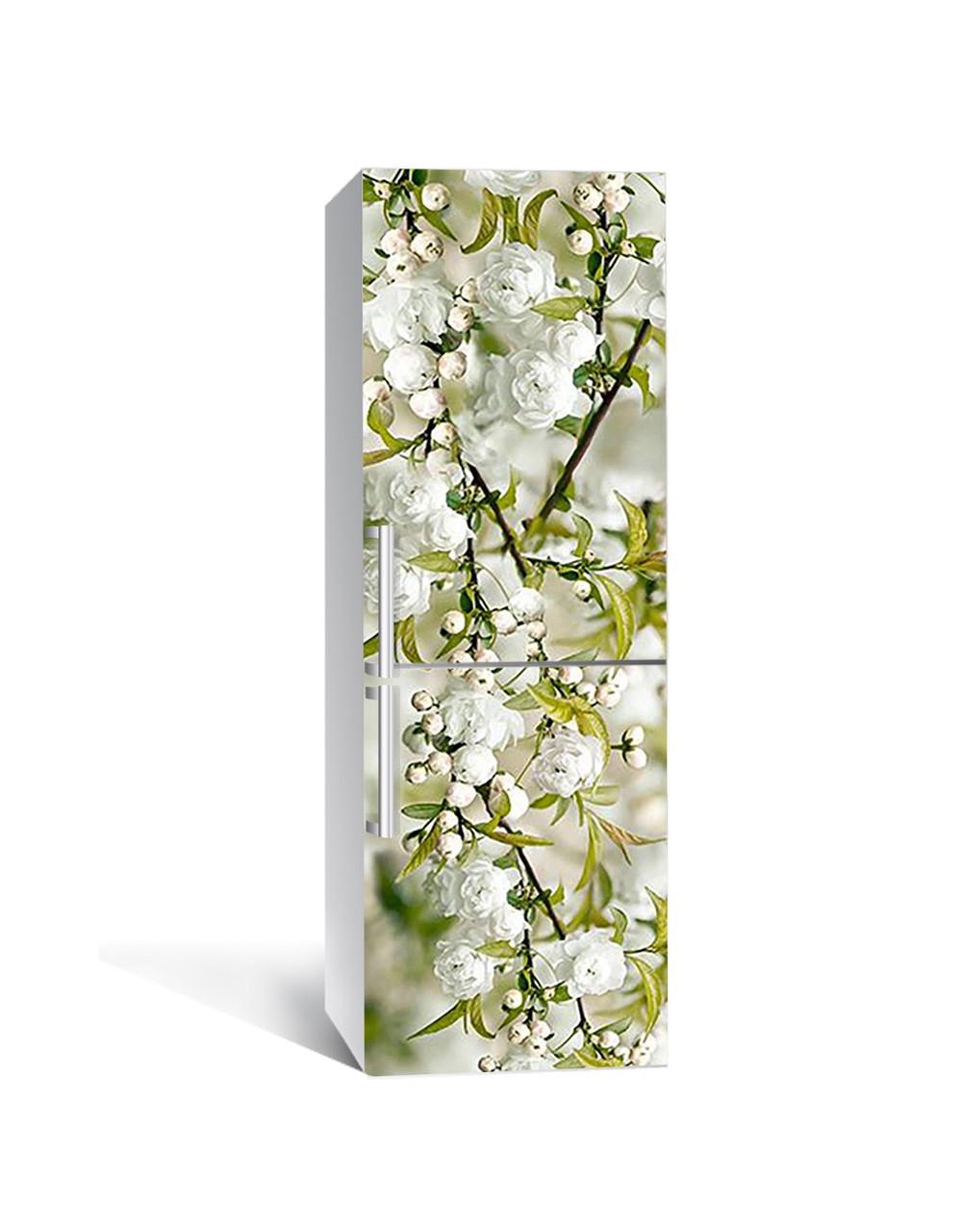 Интерьерная наклейка на холодильник Белая Сакура виниловая пленка самоклеющаяся цветущие ветки вишни Зеленый