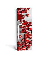Интерьерная наклейка на холодильник Вишневое варенье виниловая пленка ламинированная ПВХ красные ягоды Еда
