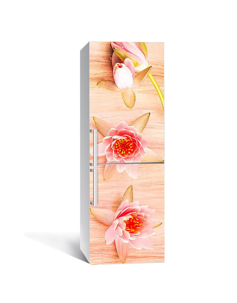Интерьерная наклейка на холодильник Цветы Лотоса виниловая пленка ламинированная ПВХ водяные лилии Бежевый