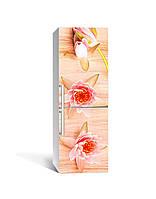 Интерьерная наклейка на холодильник Цветы Лотоса виниловая пленка ламинированная ПВХ водяные лилии Бежевый, фото 1