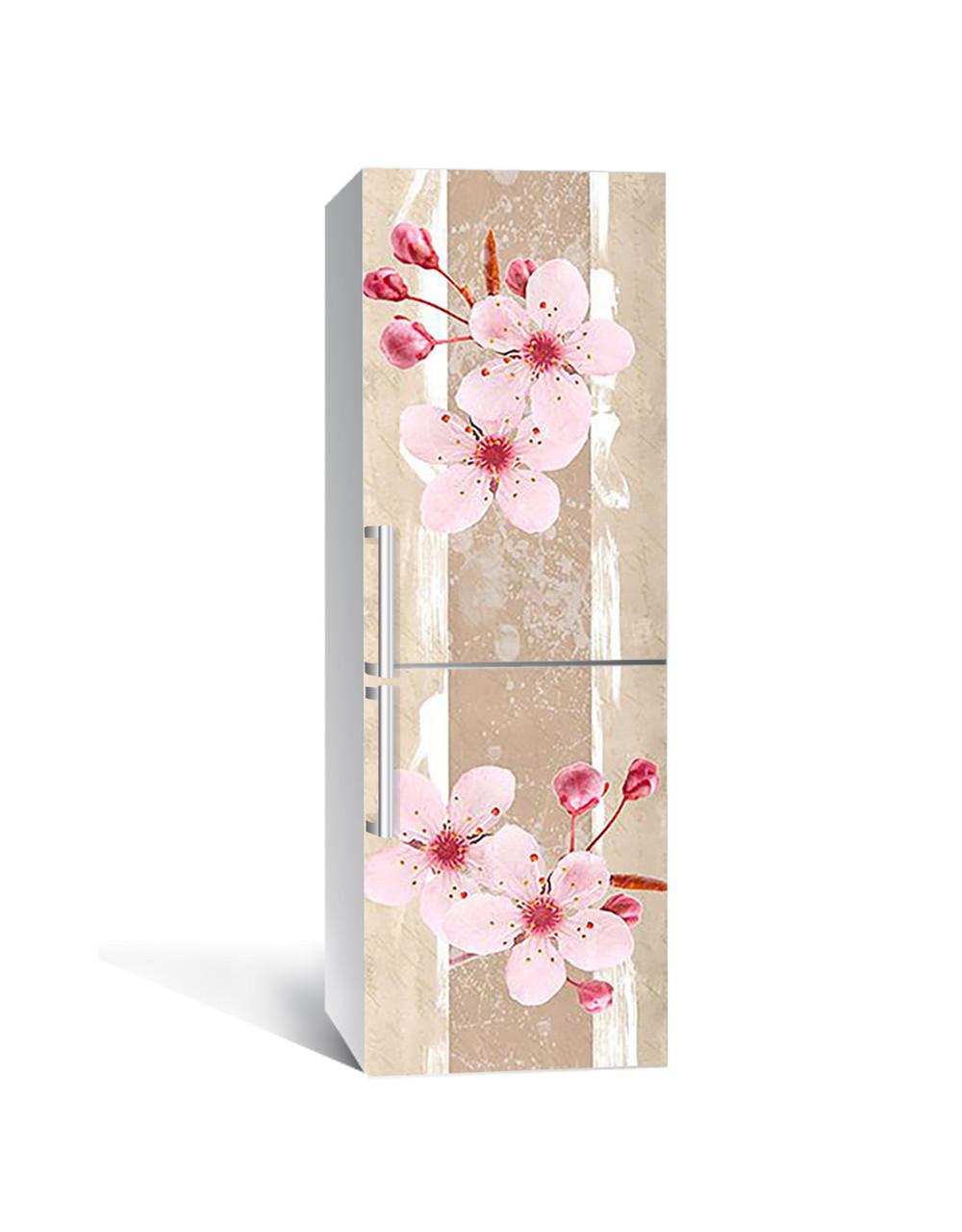 Интерьерная наклейка на холодильник Розовые Цветы Вишни виниловая пленка ламинированная ПВХ сакура Бежевый