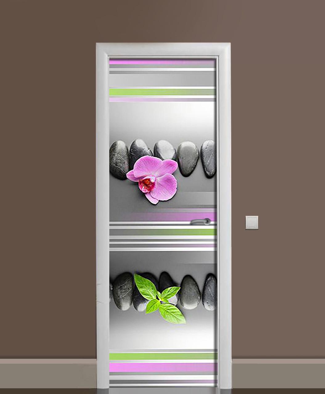 Наклейка на двері Лінії вінілова плівка ламінована ПВХ орхідея камені геометрія Сірий 650*2000 мм