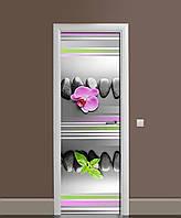 Наклейка на двері Лінії вінілова плівка ламінована ПВХ орхідея камені геометрія Сірий 650*2000 мм, фото 1