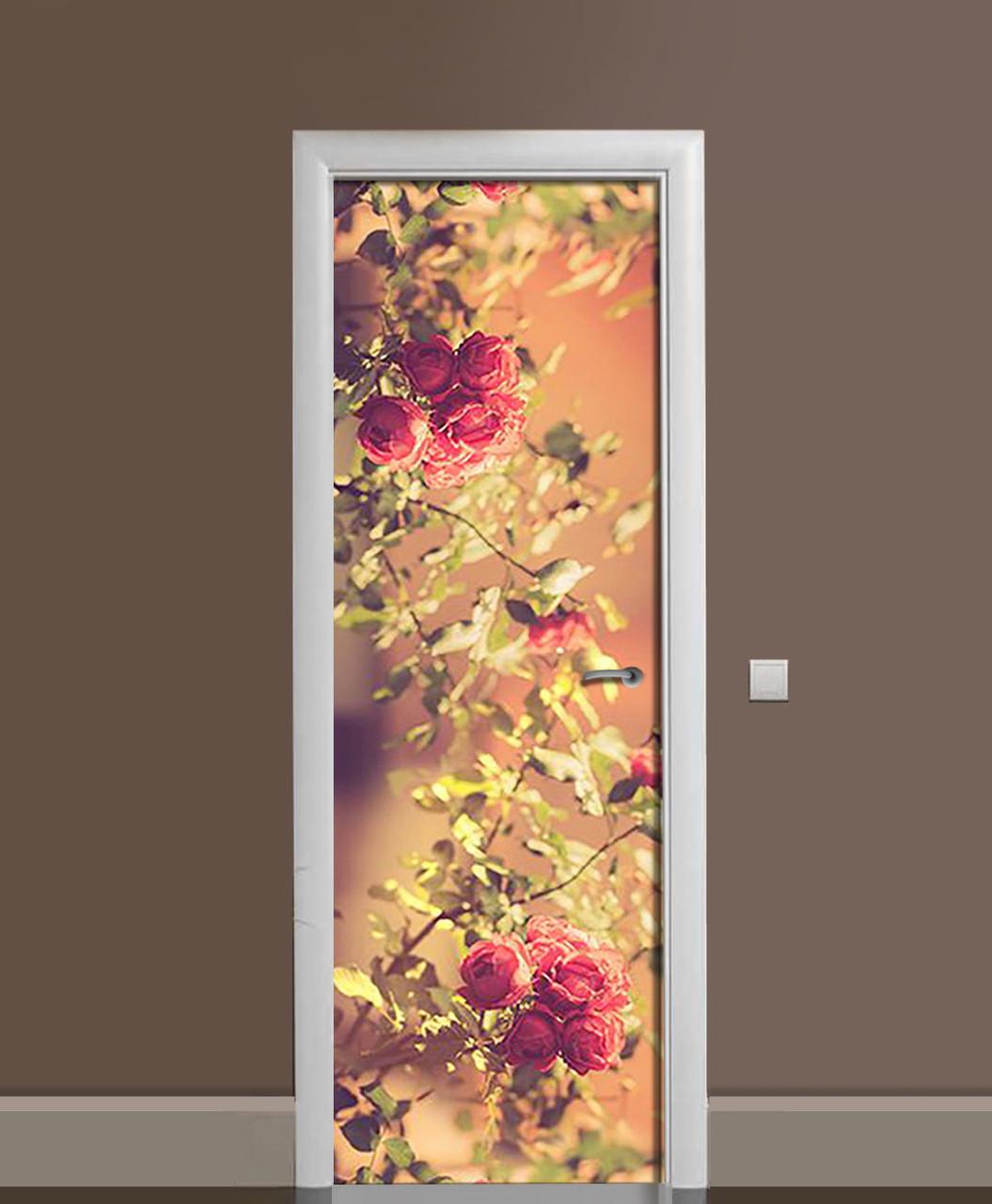 Наклейка на двери Фото Розы виниловая пленка ламинированная ПВХ сепия кусты цветы Бежевый 650*2000 мм
