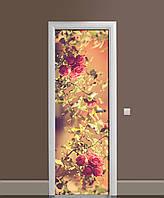 Наклейка на двери Фото Розы виниловая пленка ламинированная ПВХ сепия кусты цветы Бежевый 650*2000 мм, фото 1