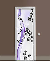 Наклейка на двери Стальные шары 02 виниловая пленка ламинированная ПВХ Абстракция сферы Фиолетовый 650*2000 мм