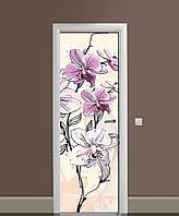 Наклейка на двери Нарисованные Орхидеи виниловая пленка ламинированная ПВХ цветы бабочки Бежевый 650*2000 мм, фото 1