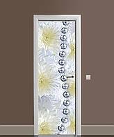Інтер'єрна наклейка на двері Срібні намиста (вінілова плівка самоклеюча ламінована ПВХ) квіти хризантеми Сірий 650*2000 мм