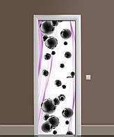 Наклейка на двері Чорні Сфери вінілова плівка ламінована ПВХ кулі абстракція Фіолетовий 650*2000 мм