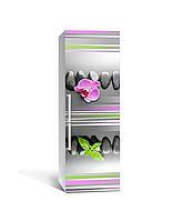 Виниловая 3D наклейка на холодильник Линии (интерьерная самоклеющаяся пленка ламинированная ПВХ) орхидея камни геометрия Серый 650*2000 мм, фото 1
