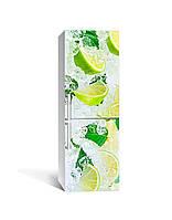 Виниловая 3D наклейка на холодильник Лимоны во льду пленка ламинация ПВХ цитрусы мята Желтый 65*200см