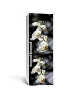 Вінілова 3D наклейка на холодильник Гілки Орхидей плівка ламінація ПВХ білі квіти на Чорному 65*200см, фото 1