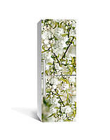 Виниловая 3D наклейка на холодильник Белая Сакура (интерьерная самоклеющаяся пленка) цветущие ветки вишни Зелёный 650*2000 мм, фото 1
