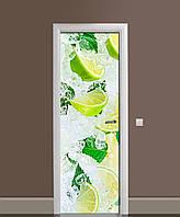 Виниловая 3D наклейка на двери Лимоны во льду интерьерная пленка ламинация ПВХ цитрусы мята Желтый 650*2000 мм, фото 1