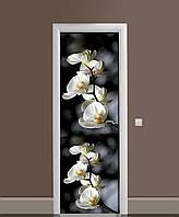 Виниловая 3D наклейка на двери Ветки Орхидей (интерьерная самоклеющаяся пленка ламинированная ПВХ) белые цветы на Черном фоне 650*2000 мм, фото 1