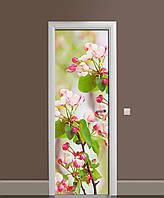 Виниловая 3D наклейка на двери Розовые Цветы вишни (интерьерная самоклеющаяся пленка ламинированная ПВХ) вишневые ветки Зелёный 650*2000 мм, фото 1