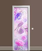 Виниловая 3D наклейка на двери Утренние Пионы (интерьерная самоклеющаяся пленка ламинированная ПВХ) цветы Розовый 650*2000 мм, фото 1