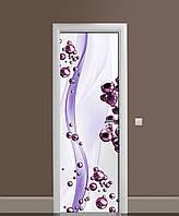 Виниловая 3D наклейка на двери Фиолетовые Сферы интерьерная пленка ламинация ПВХ шары Абстракция 650*2000 мм, фото 1