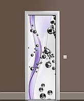 Виниловая 3D наклейка на двери Стальные шары 02 интерьерная пленка ПВХ Абстракция сферы Фиолетовый 650*2000 мм