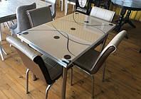 """Раскладной стол обеденный кухонный комплект стол и стулья 3D рисунок 3д """"Капучино"""" ДСП стекло 70*110 Mobilgen"""