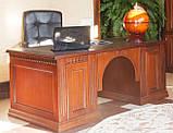 Стол руководителя из массива Оскар с кожаной вставкой Письменный стол в кабинет руководителя дуб, фото 2