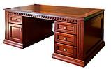 Стол руководителя из массива Оскар с кожаной вставкой Письменный стол в кабинет руководителя дуб, фото 5