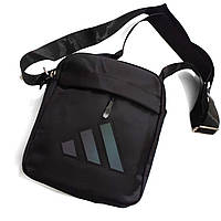 Сумка на плечо, барсетка Adidas на 3 отделения черная, фото 1