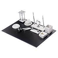 Мраморный настольный набор для руководителя белый на 10 предметов BST 540204 70х50 см