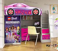 """Кровать чердак  """" Лего Френдс """" + цельная наклейка на шкаф"""