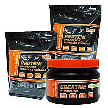 Масс Протеин для роста мышц: 4 кг Германия (80% белка /16% ВСАА) Манго + Intensive Five креатин в Подарок!