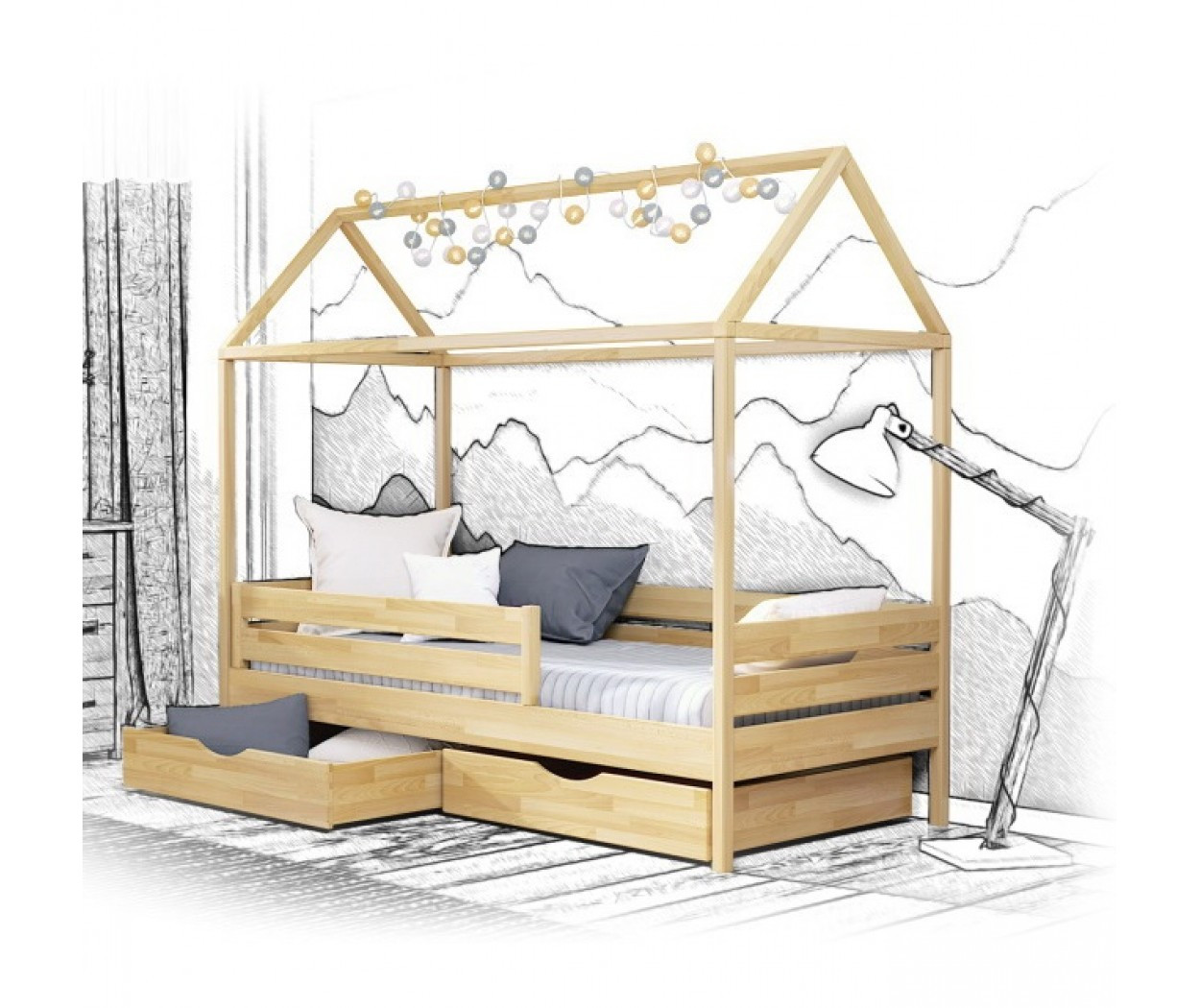 Деревянная кровать Амми Массив 80х190 см. Эстелла