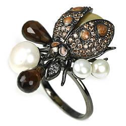 Серебряное кольцо с жемчугом разноцветным и раухтопазом, фигурка жучок, 2442КЦЖ