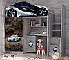 """Кровать чердак  """" БМВ 8 """" + цельная наклейка на шкаф"""
