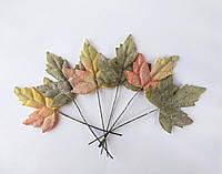 Кленові листки в інеї на дротику 6 шт. ДВА КОЛЬОРИ, фото 1
