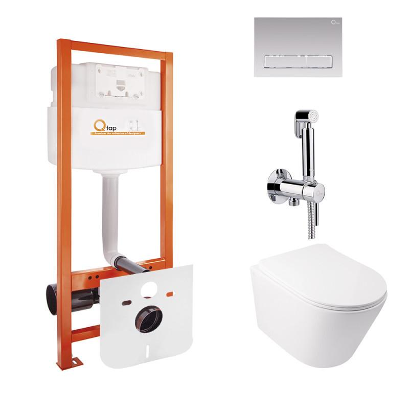 Комплект Q-tap унитаз с сиденьем Swan WHI 5178 + инсталляция Nest M425-M08CRM + набор для гигиенического душа со смесителем Inspai-Varius V00440001
