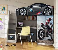 """Кровать чердак  """" БМВ графит """" + цельная наклейка на шкаф"""