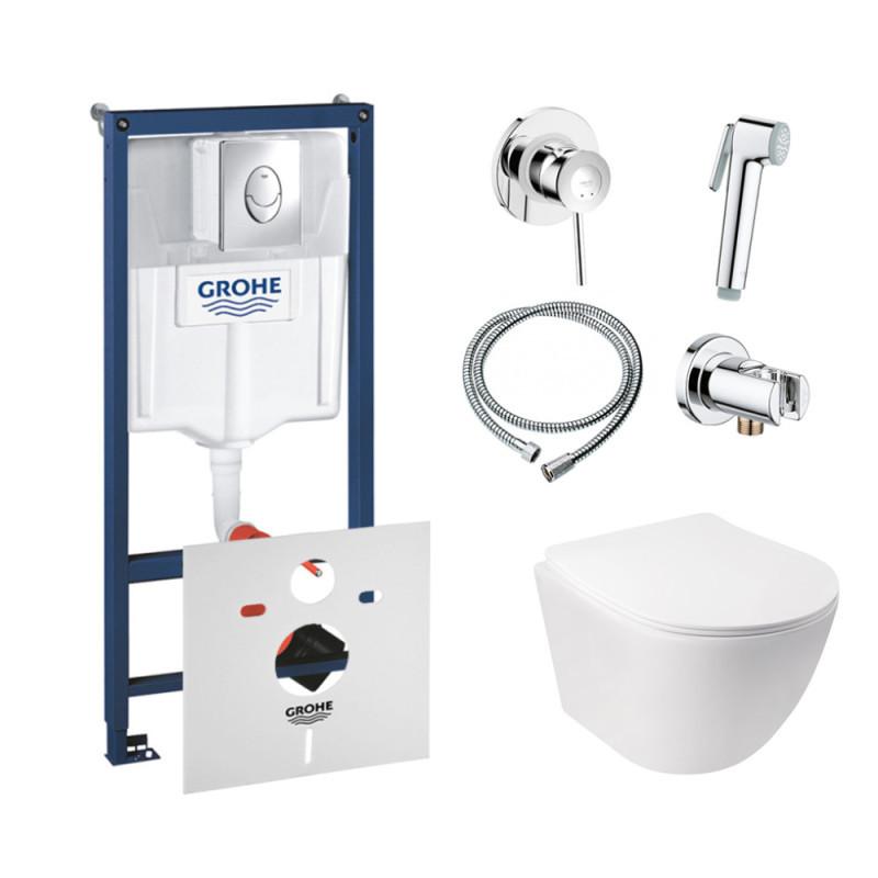 Комплект унітаз з сидінням Q-tap Jay WHI 5176 + інсталяція Grohe Rapid SL 38721001 + набір для гігієнічного