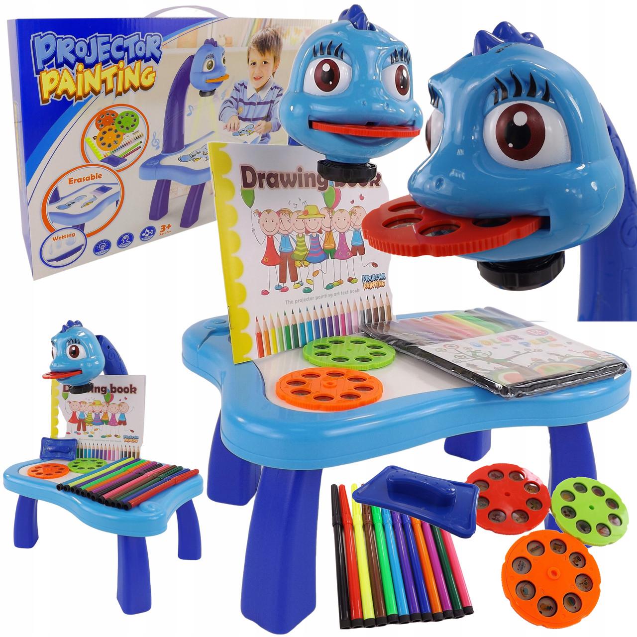Проектор для малювання дитячий з 12 фломастерами YM6886 24 картинки Синій