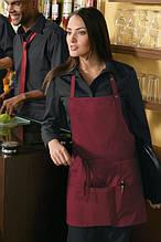 Фартук для официанта и бармена с тремя нижними карманами T-133-F (maroon) TEXSTYLE