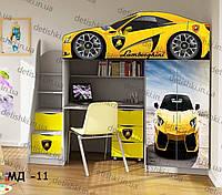 """Кровать чердак  """" Ламборгини желтая """" + цельная наклейка на шкаф"""
