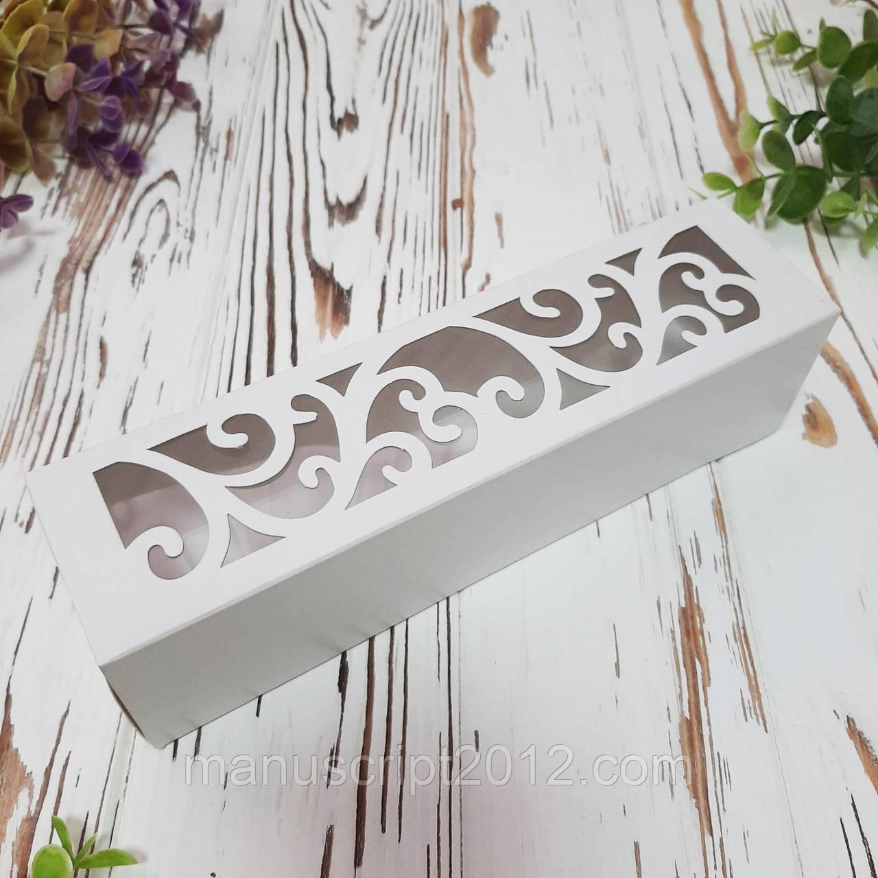 Коробка картонная для макарун  белая