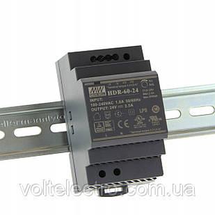 Блок питания 60вт, 24в, 2,5А на Din-рейку HDR-60-24 Mean well