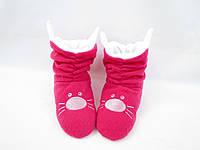 Оригинальные флисовые тапочки-сапожки =Котики=тепло и комфортно,малиновые