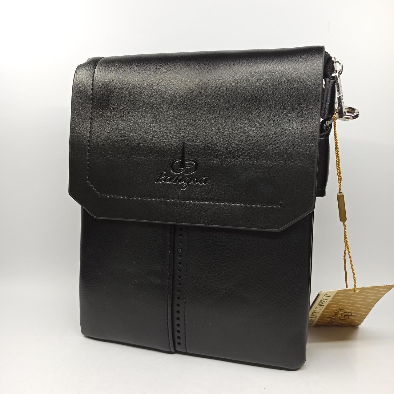Мужская кожаная сумка планшет через плечо Langsa TP6738-3