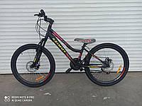 Подростковый велосипед с низкой рамойAzimut Pixel24D черный 85% собран.в коробке + КРЫЛЬЯ В ПОДАРОК!!!!