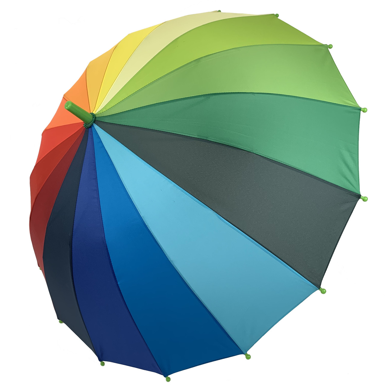 """Детский полуавтоматический зонт-трость """"Радуга"""" от Flagman, подойдет для школьников, зеленая ручка, 50С-1"""